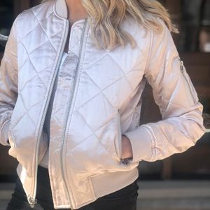 Light pink quilted bomber jacket